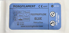 2/0 POLYPROPYLENE MONOFILAMENT 75cm SUTURES FOR TRAINING USE 18mm NEEDLE 12pcs