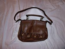 AUTHENTIC NINE WEST BROWN FAUX LEATHER LEATHER HOBO PURSE COMPARTMENTS CHAINS