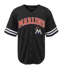 🔥 MLB Miami Marlins Boys' Team Jersey XL Size 16/18 Black Baseball NEW  🔥🔥