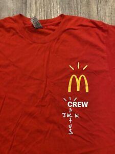 Travis Scott Cactus Jack Crew Mcdonald's Employee Red T-Shirt Size L Rare