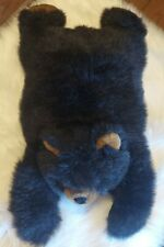 Fancy Zoo Faux Fur Black Bear Plush A&A Company 9991 laying on belly stomach