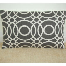 "20""x12"" Oblong Cushion Cover Charcoal Grey Ivory Off-White Funky Retro Bolster"