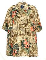 Caribbean Joe Hawaiian Aloha Beige with Orange Hibiscus Mens Silk Shirt Size XL