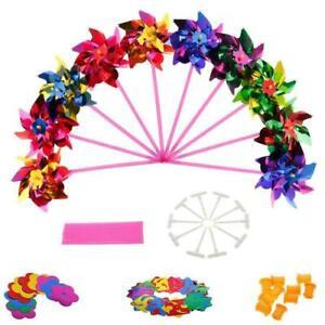 50Pcs Plastic Windmill Pinwheel Wind Spinner Kids Toy Garden Lawn Party Decor Q