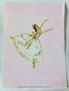 """Genuine Vintage Brownie Downing Ballerina Print, """"Inspiration"""" Colour Picture"""