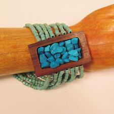 "2"" Turquoise Color Stone Chip Wood Stretch Handmade Seed Bead Bracelet"