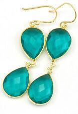 Hot Teal Blue Tourmaline Earrings Sim Double Teardrop Bezel gold 14k filled