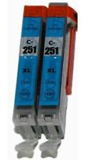 Ink Cartridge for Canon CLI-251 CLI-251XL Cyan PIXMA MG6350 MX922 iP7220 - 2pks