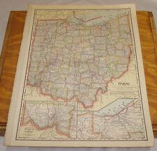 1911 Cram Antique Color Map/Ohio, b/w Indiana