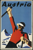 "AUSTRIA TRAVEL SKIING VINTAGE REPRO A4 CANVAS ART PRINT POSTER 11.7"" x 7.8"""