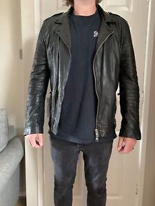 mens all saints leather jacket medium
