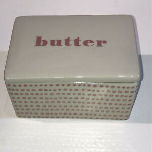BLOOMINGVILLE Collection Stoneware Retro BUTTER Cheese Square Dish Pink, PERFECT