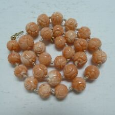 Vintage Chinese Carved Natural Coral Beads Necklace 58 Grams 10 MM To 13 MM 18""
