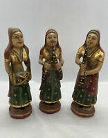 Lot Of 3 Antique Wooden Musician Lady Figurines Original Old Hand Carved Painted