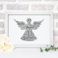 Personalised Word Art Guardian Angel With Wings Picture Print Frame Gift