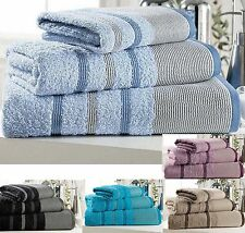 Bordered Modern Hand Bath Towels