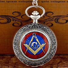 Taschenuhr mit Kette Motiv Freimaurer Zirkel Winkel Kompaß Templer Mason (UG9)