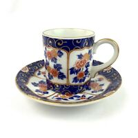 OMC Japan OTAGIRI Espresso Demitasse Cup Saucer Set Vintage Blue Red Gold Trim