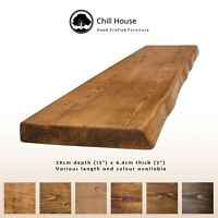 Rustic Live Edge Floating Shelf Wood Solid Chunky Dark Oak Handmade 12x2