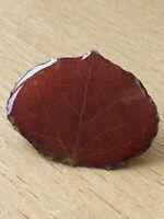 1970s Vintage Brooch Retro Folk Art 1980s Plasticraft Red Natural Leaf Pin Gift