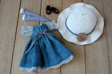 Blythe doll dress blue outfit accesories clothes socks stockings bag headdress