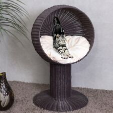 """33"""" Cat Bed Home Ball Hooded Rattan Wicker Elevated Cat Kitten with Cushion"""