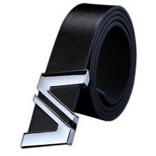 Men Women Fashion Automatic Letter Buckle Leather Waist Strap Belts Buckle Belt