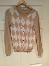 Michael Kors Tan Sequin Argyle Cardigan Sweater, Size Medium