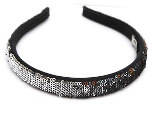 MIU MIU Hairband Sequins Silver Copper Green Black Hair Accessory