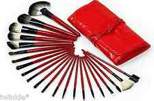 """22Pc Red Dual tone Synthetic Hair Makeup Brush Set in Soft Red PU Case """"ON SALE"""""""