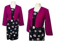 Womens Black Wine  Dress With Bolero/Jacket For Wedding Church Parties Events