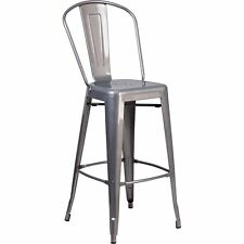 Flash Furniture 30'' High Clear Coated Indoor Barstool with Back