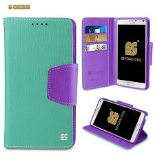 For Samsung Galaxy Note 4 InFolio Diary Wallet Flip ID Card Case Mint Purple