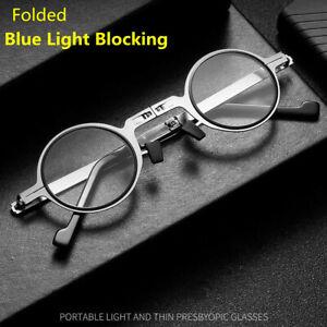 Folded Blue Light Blocking Vintage Small Round Reading Glasses Full Rim +150 250