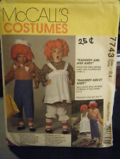 McCall's 7743 Kid's Raggedy Ann & Andy Costume Pattern - Size 2-4