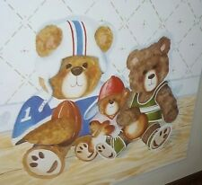 No Glass Protector! Home Interior Art Of Three Sport'S Player Teddy Bears