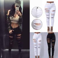 Women Pencil Casual Denim Skinny Jeans Pants High Waist Slim Jeans Trousers FF
