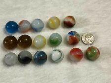 16 Marbles Boulder Glass Jewel Gem Multi Color Swirl Solid Bolder Vintage ?