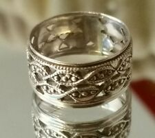Pierced & Beaded Wide Band - Sterling Silver Ring size 5