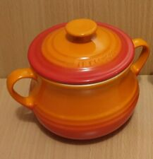 Le Creuset Casserole Soup Bean Pot With Lid Twin Handle Volcanic Orange