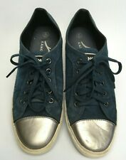 KANGOL Blue Suede Trainers Silver Tips Womens UK 5