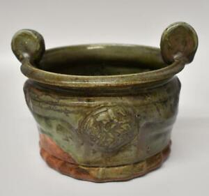 Michigan Artist John Glick Pottery Bowl Green & Orange