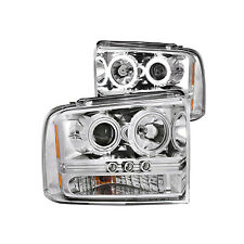 ANZO Fits Ford Excursion 2005 L.E.D Projector Headlights Chrome Clear 111118