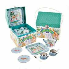 Kids Girls Unicorns Tin Tea Set Carry Case 15 Pieces Tray Childrens Play Toy