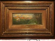 Quadro antico di Pompeo Mariani 1857 - 1927 Pittura Olio su legno 10 x 25