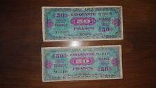 2 BILLETS DE 50 FRANCS 1944 impression américaine france