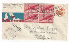 1946 San Antonio TX, Uprated 6c #UC3 Stationery Entire Airmail Switzerland, C25