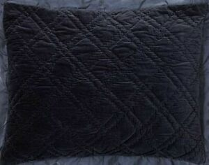 Pottery Barn Washed Velvet Silk Blend King Quilted Sham, Midnight Blue