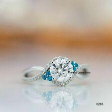 Ring 14k White Gold Plated 2Ct Forever Round Moissanite Solitaire Engagement