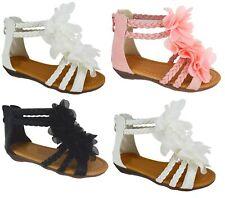 NEU Mädchen Kinder Sommer Blumen Flach Reißverschluss Kleinkinder Kinder Strand Sandalen Größe
